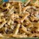 Parmigiano di pecora, pecorino stagionato al fieno, gorgonzola, radicchio, salsiccia, sedanini e in un attimo...è pasta al forno.